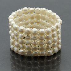 Браслет из жемчуга белого речного , круглые 5 рядов