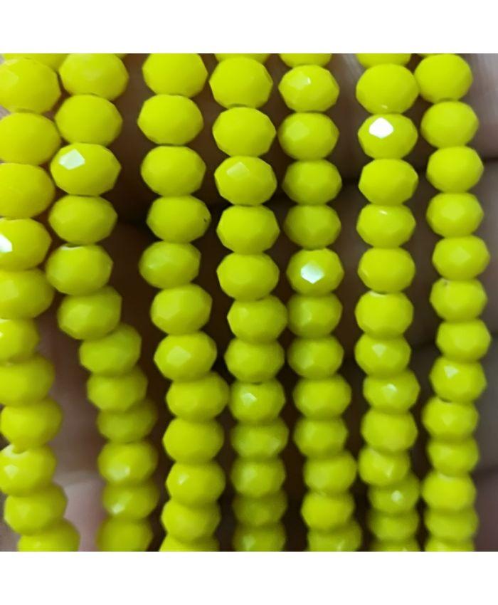 Бусы из чешского стекла желтое, круглые граненые 10мм, длинные 110см