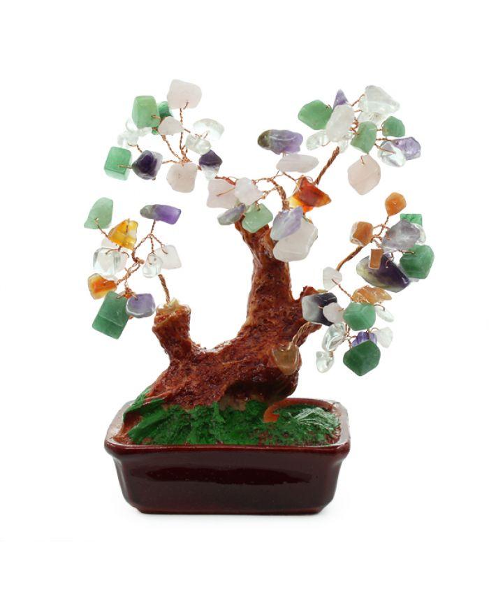 Дерево счастья самоцветы, высота 13см