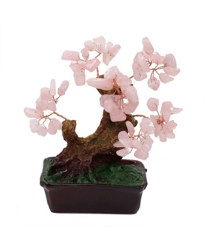 Дерево счастья розовый кварц, высота 13см