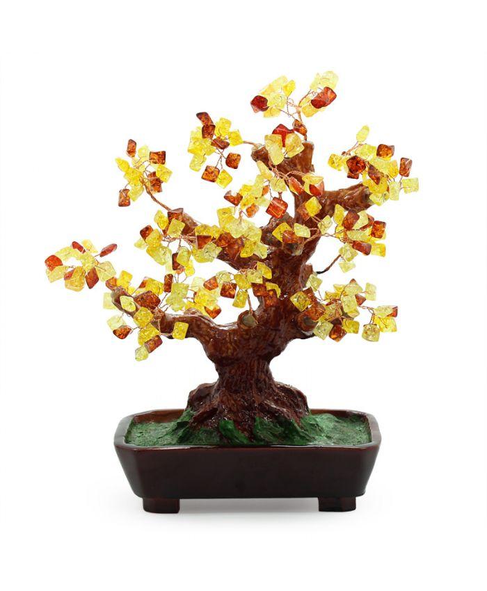 Дерево счастья янтарь плавленый, высота 25см