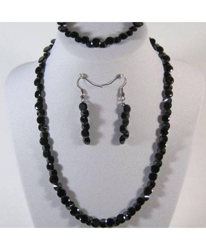 Комплекты фианит циркон (бусы + браслет + серьги) черный граненые, короткие 43см