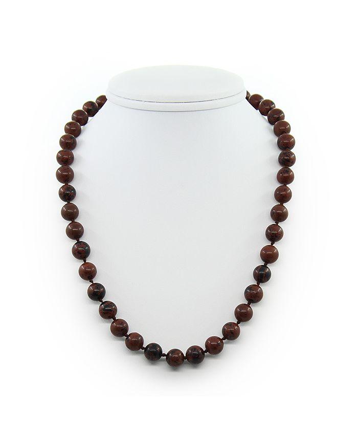 Обсидиан бусины коричневый, круглые 10мм, длина 45см