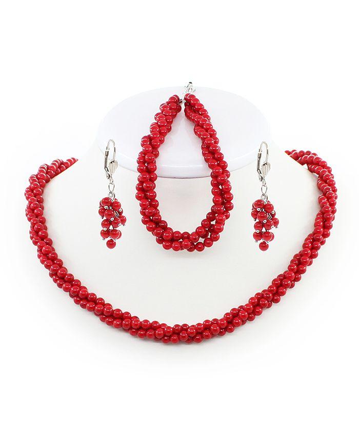 """Бусы, браслет, серьги из коралла  комплект красный прессованный """"Вернандо"""" длина 48см"""