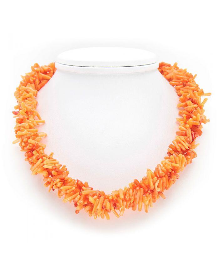 """Бусы коралл оранжевый галька мелкая """"Лавита"""" длина 43 см"""