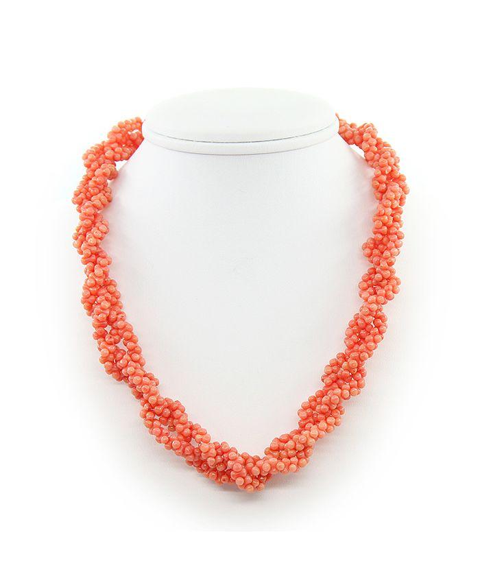 """Коралловые бусы оранжевый """"Косичка"""", косточки, длина 45см"""