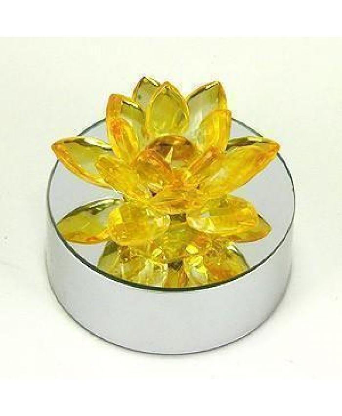 "Хрустальный цветок ""Лотоса"" Фэн-Шуй жёлтый 70 мм"