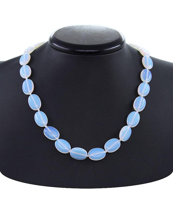 Ожерелье с лунным камнем, плоские овальные 13х18мм, длина 49см