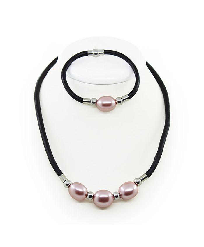 Колье и браслет майорка темно-розовая, овальные 16х20мм на кожанной веревке, длина 50см