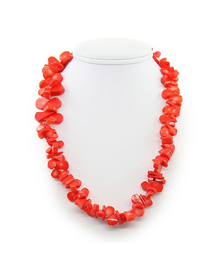 Коралловые бусы оранжевый, галька плоская в виде капли, короткие 43см