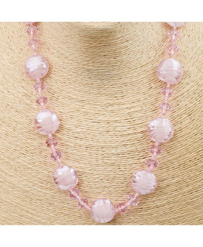 Комплект Бусы из муранского стекла -розовый