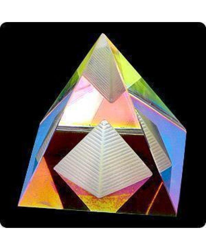 """Стеклянная Фигурка """"Пирамида энергетическая"""", цветная, 65 мм"""