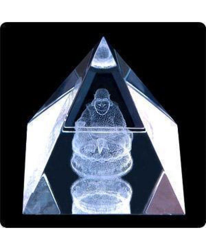 """Стеклянная Фигура """"Пирамида"""" с лазерной картинкой """"Будда"""", 50 мм"""