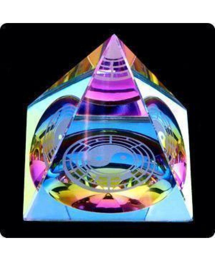 """Стеклянная Фигура """"Пирамида"""", изображение """"Инь - Ян"""", 50 мм"""