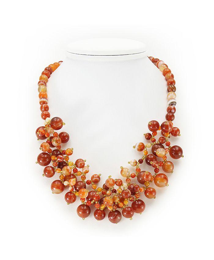 """Ожерелье из сердолика """"Флоренция"""", длина 45см"""