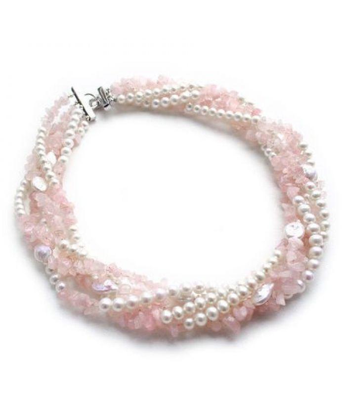 Ожерелье из розового кварца и жемчуга НЕЖНЫЕ ЧУВСТВА